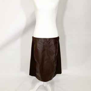 Lauren Chocolate Brown Faux Leather Skirt 14